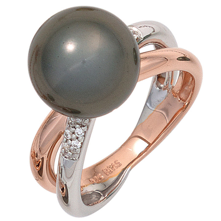 Damen Ring 925 Sterling Silber 10 Zirkonia 1 Muschelkern Perle Perlenring