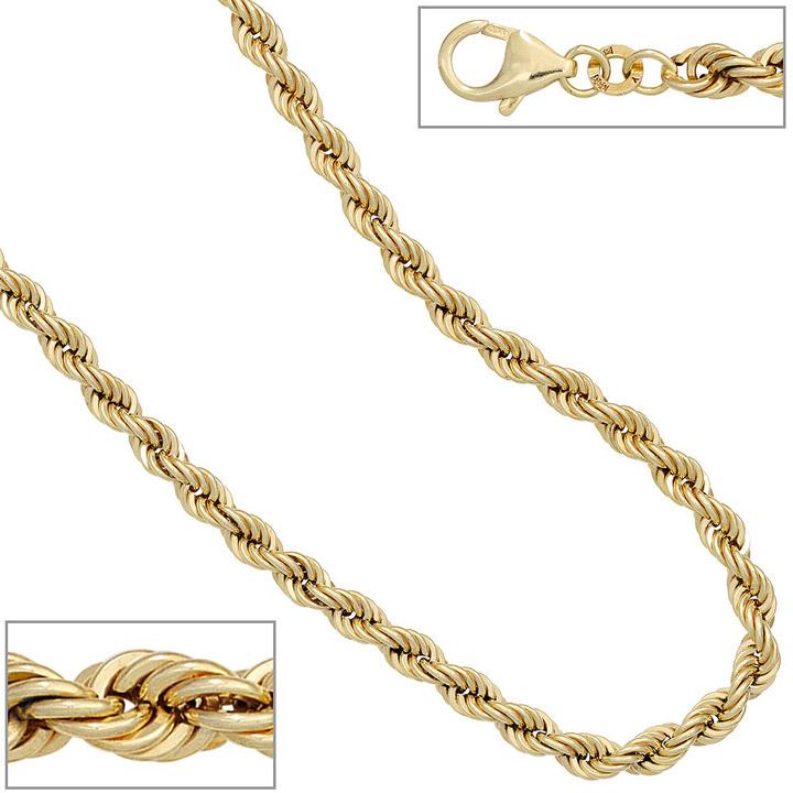 Kordelkette 585 Gelbgold 4,9 mm 45 cm Gold Kette Halskette Goldkette Karabiner