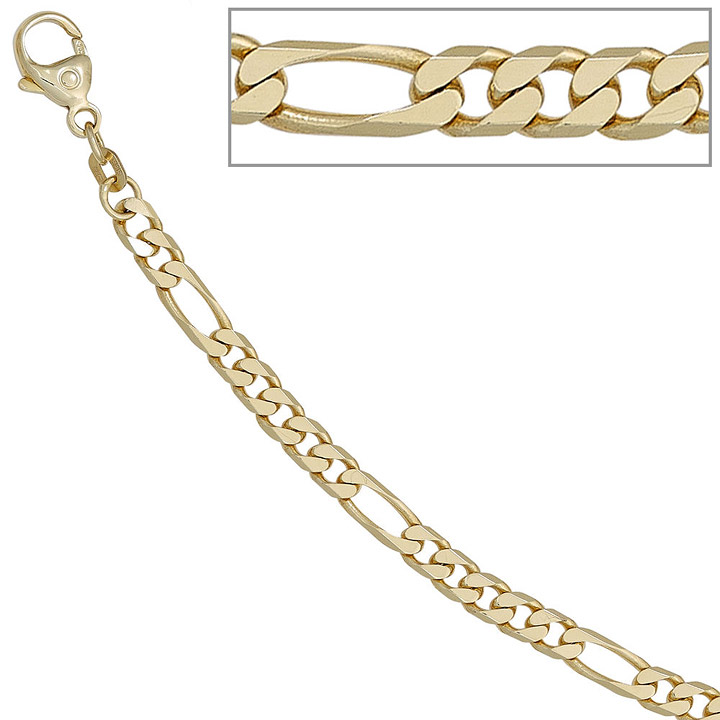 Figaroarmband 585 Gold Gelbgold 18,7 cm Armband Goldarmband Karabiner