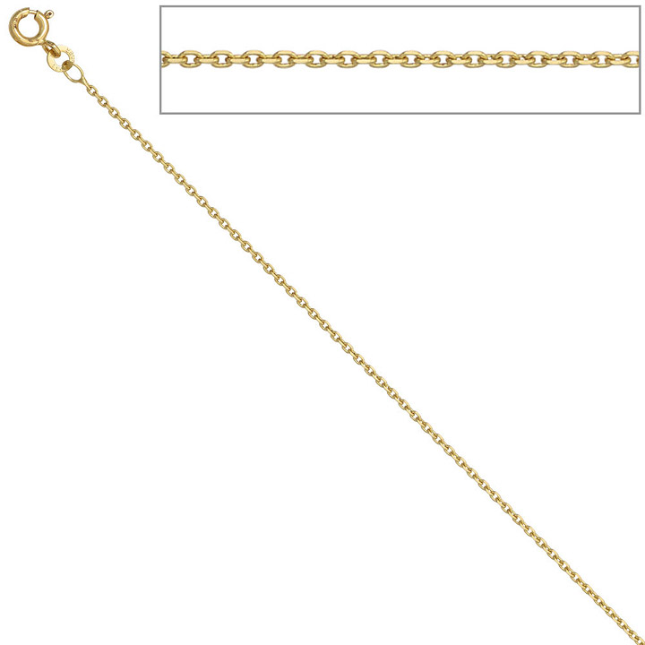Ankerkette 585 Gelbgold 1,2 mm 36 cm Gold Kette Halskette Goldkette Federring