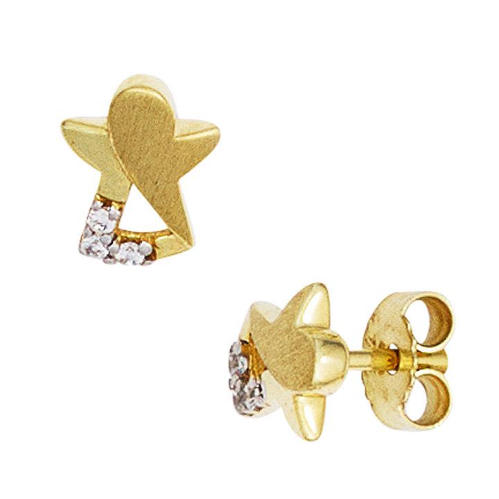 Kinder Ohrstecker Engel Schutzengel 333 Gold mattiert 6 Zirkonia Ohrringe