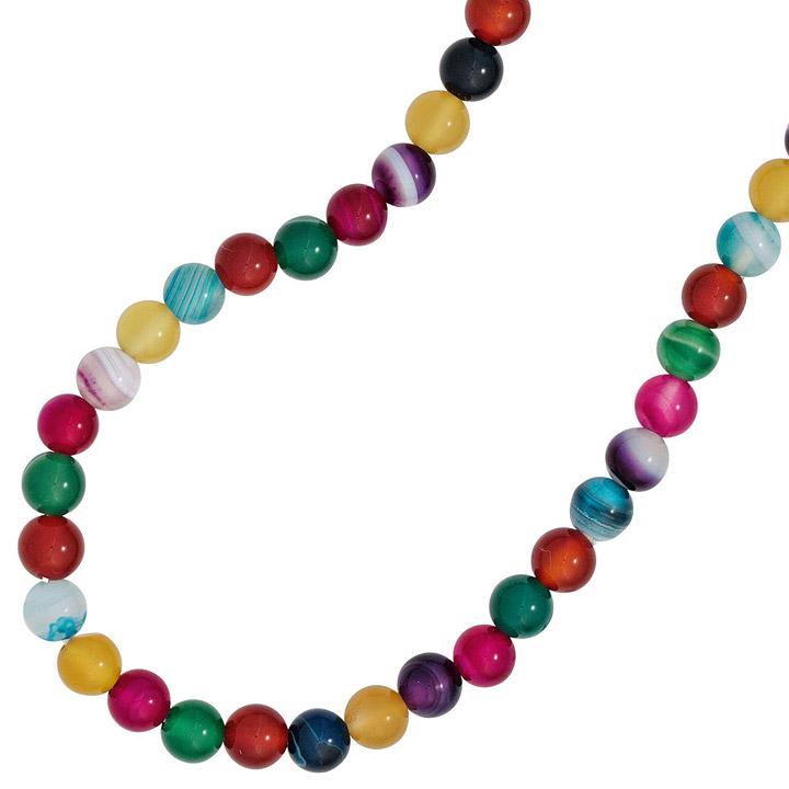 Kinder Edelsteinkette mit Achaten bunt 38 cm endlos Halskette Kette auf Gummi