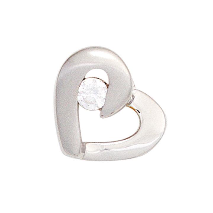 Anhänger Herz 925 Sterling Silber rhodiniert mattiert 1 Zirkonia Herzanhänger
