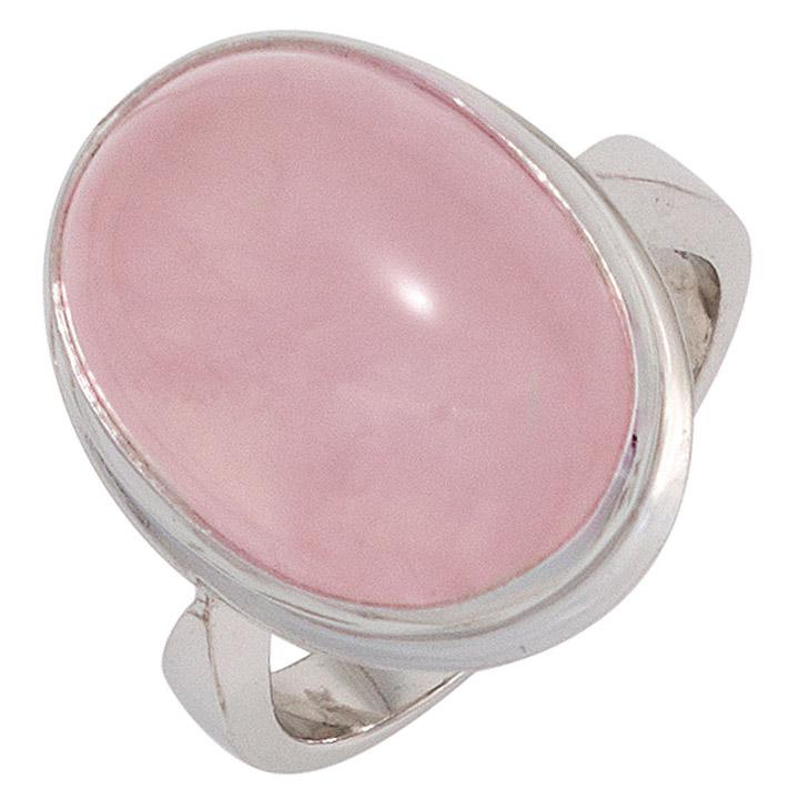 Damen Ring 925 Sterling Silber rhodiniert 1 Rosenquarz rosa Silberring