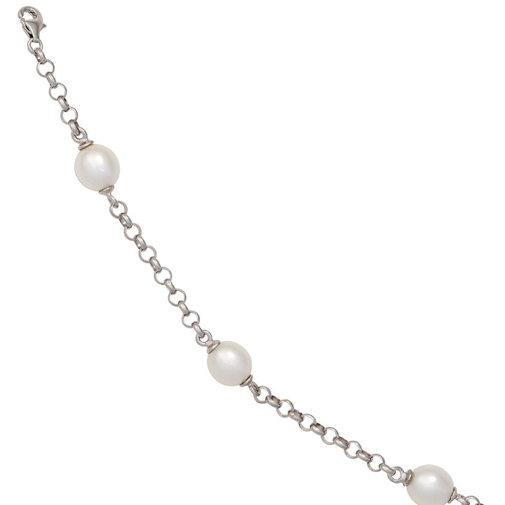 Perlenarmband 925 Sterling Silber mit 4 Süßwasser Perlen 19 cm Armband Karabiner