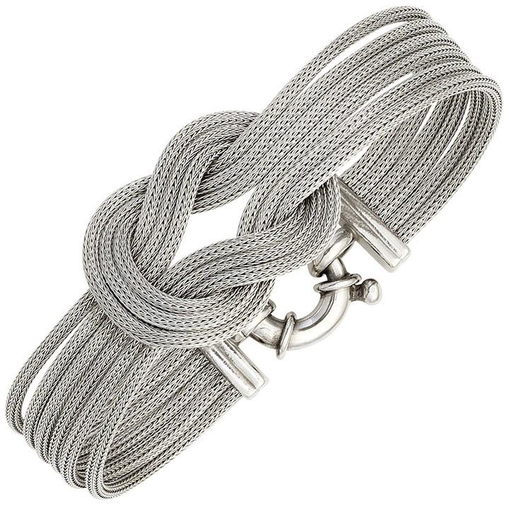 Armband verschlungen 925 Sterling Silber mattiert 19 cm Silberarmband breit