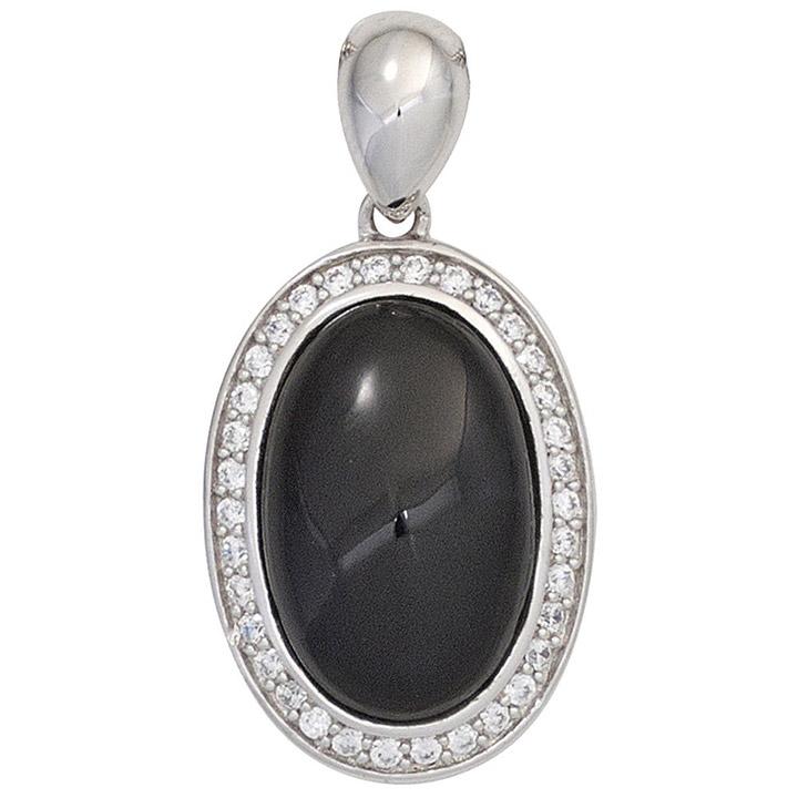 Anhänger oval 925 Sterling Silber rhodiniert mit Zirkonia 1 Onyx schwarz