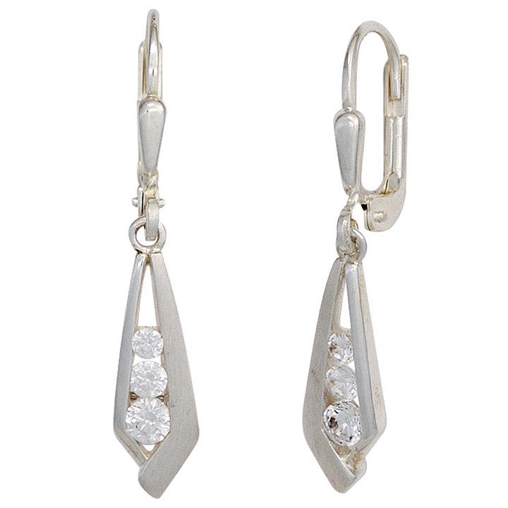 Boutons 925 Sterling Silber mattiert 6 Zirkonia Ohrringe Ohrhänger
