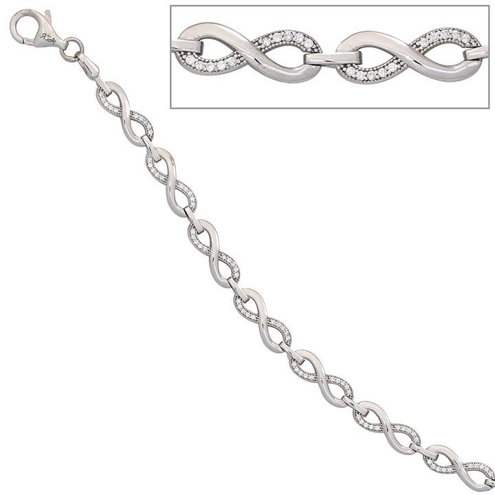 Armband Unendlichkeit 925 Sterling Silber mit Zirkonia 19 cm Silberarmband