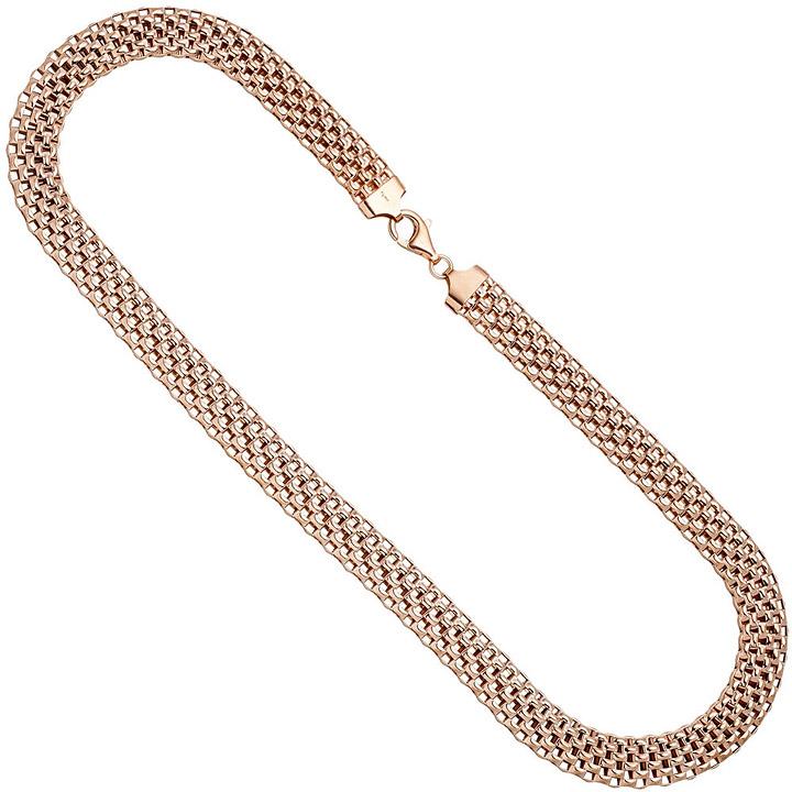 Collier Statement Halskette 925 Sterling Silber rotgold vergoldet 45 cm Kette