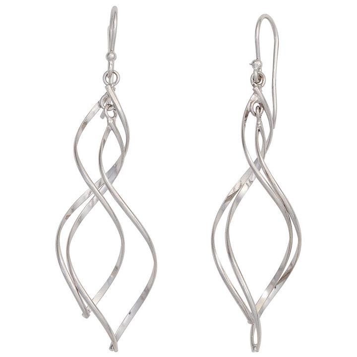 Ohrhänger Spirale 925 Sterling Silber rhodiniert Ohrringe