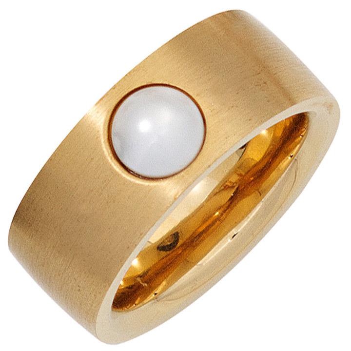 Damen Ring breit Edelstahl gold farben beschichtet 1 Süßwasser Perle Perlenring