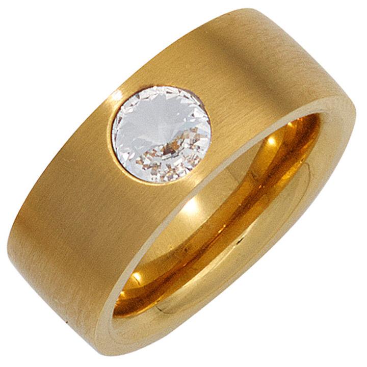 Damen Ring breit Edelstahl gold vergoldet mattiert mit SWAROVSKI® ELEMENT
