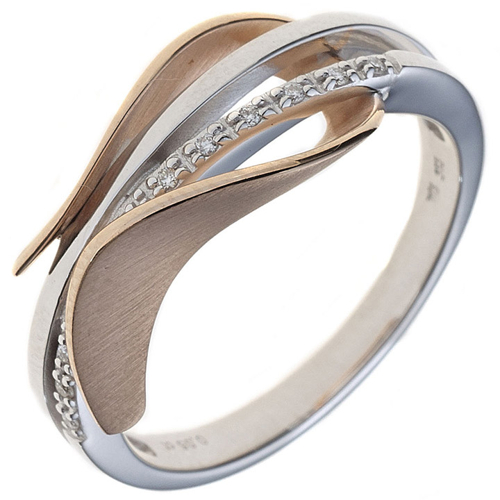 Damen Ring 585 Gold Weißgold Rotgold bicolor teilmatt 9 Diamanten Brillanten