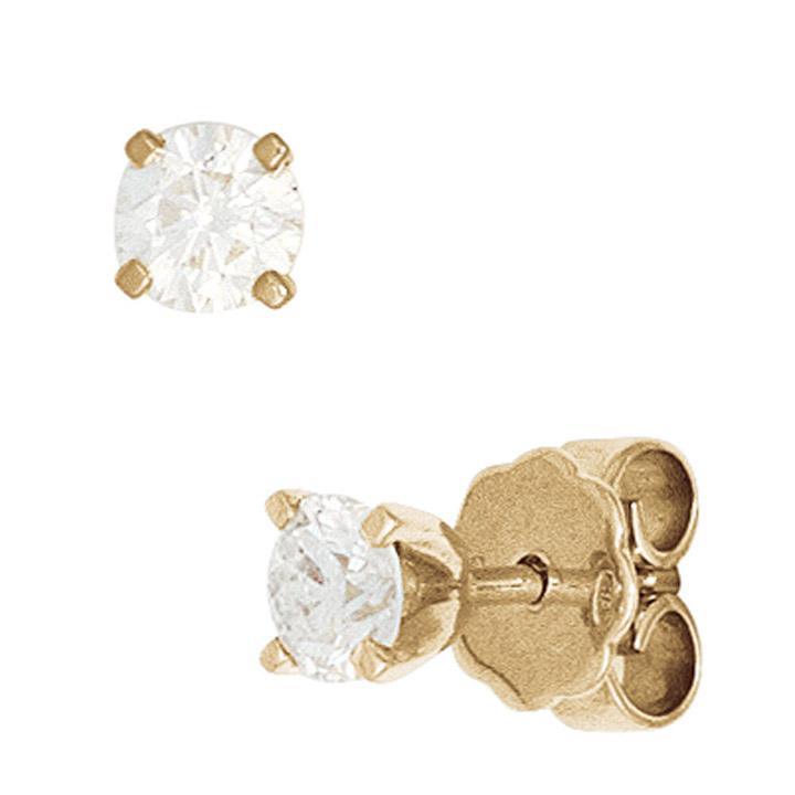 Ohrstecker rund 585 Gold Gelbgold 2 Diamanten Brillanten 0,15ct. Ohrringe