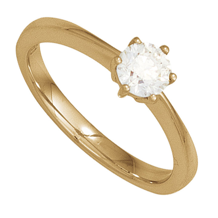 Damen Ring 585 Gold Gelbgold 1 Diamant Brillant 0,15ct. Diamantring Goldring
