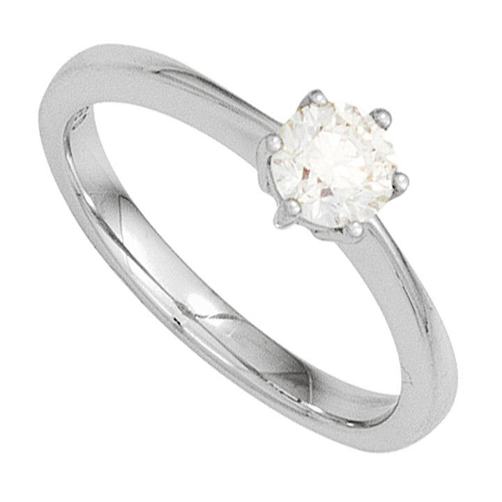 Damen Ring 585 Gold Weißgold 1 Diamant Brillant 0,15ct. Diamantring Goldring