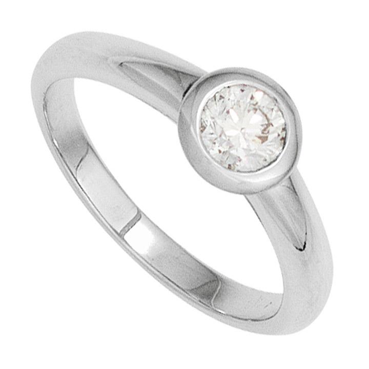 Damen Ring 585 Gold Weißgold 1 Diamant Brillant 0,20ct. Diamantring Goldring