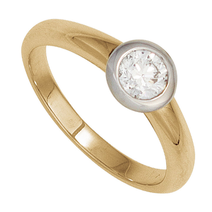 Damen Ring 585 Gold Gelbgold Weißgold 1 Diamant Brillant 0,15ct. Goldring