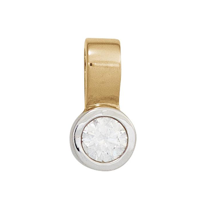 Einhänger Anhänger 585 Gold Gelbgold Weißgold bicolor 1 Diamant Brillant 0,20ct.