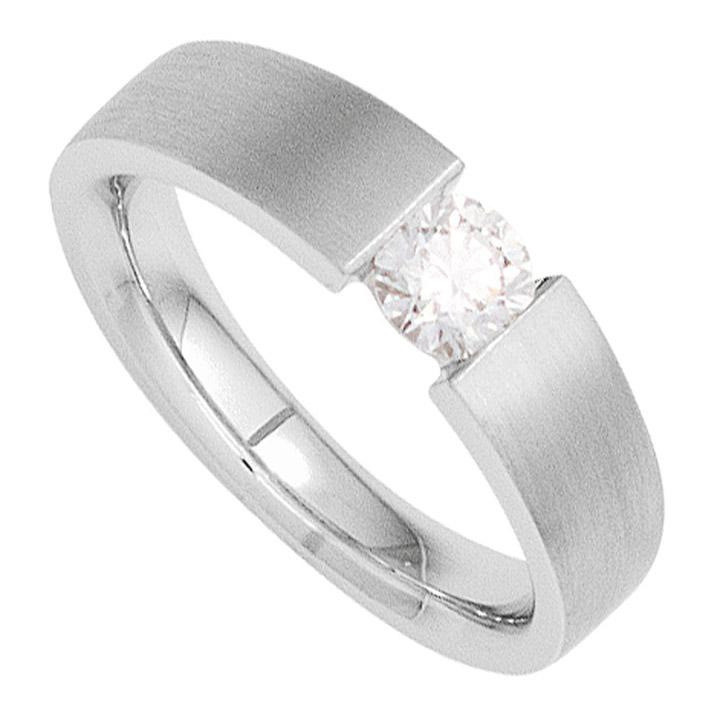 Damen Ring 585 Gold Weißgold mattiert 1 Diamant Brillant 0,25ct. Goldring