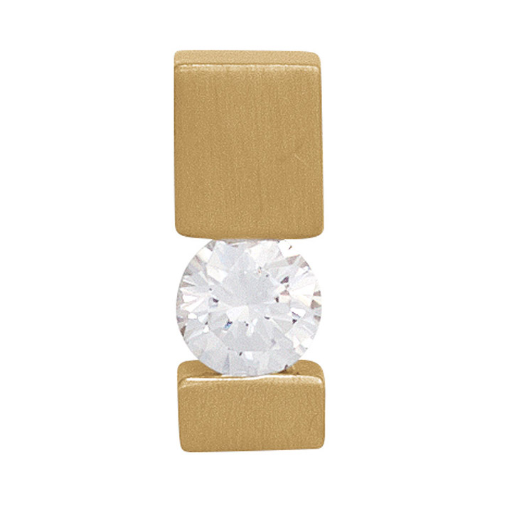 Anhänger 585 Gold Gelbgold mattiert 1 Diamant Brillant 0,10ct. Solitär