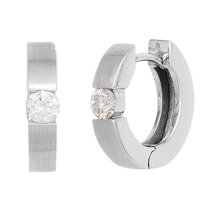 Creolen rund 585 Gold Weißgold mattiert 2 Diamanten Brillanten 0,20ct. Ohrringe