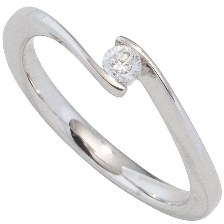 Damen Ring 585 Gold Weißgold 1 Diamant Brillant 0,10ct. Diamantring Goldring