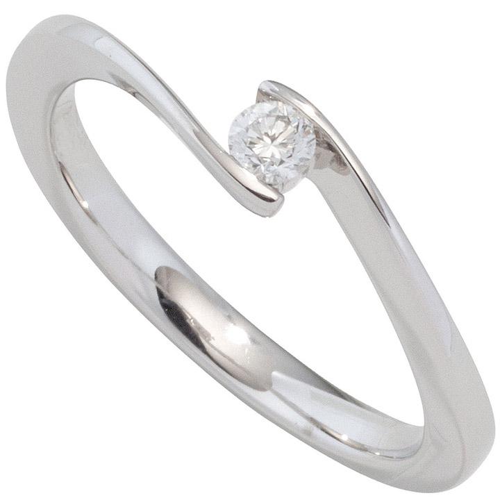 Damen Ring 585 Gold Weißgold 1 Diamant Brillant 0,25ct. Diamantring Goldring