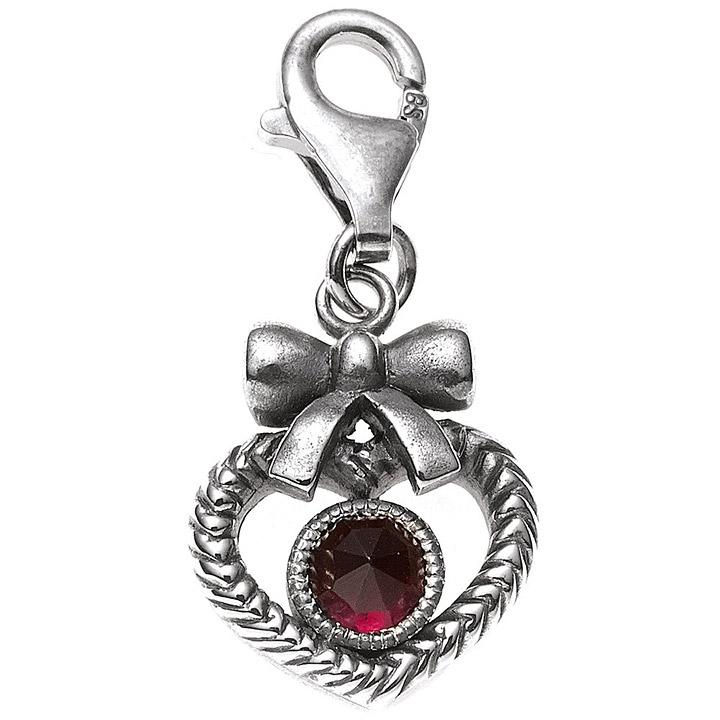 Einhänger Charm Herz 925 Sterling Silber rhodiniert 1 Granat rot