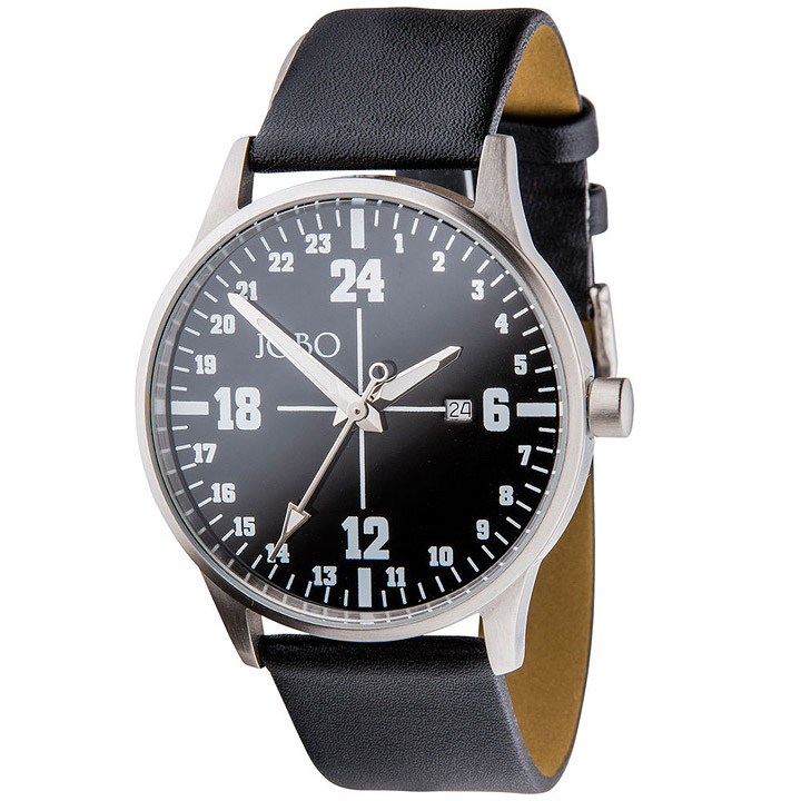 Unisex Armbanduhr 24-Stunden-Uhr Quarz Analog Edelstahl Leder