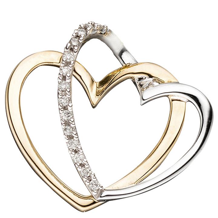 Anhänger Herzen 585 Gold Gelbgold bicolor 14 Diamanten Brillanten Herzanhänger