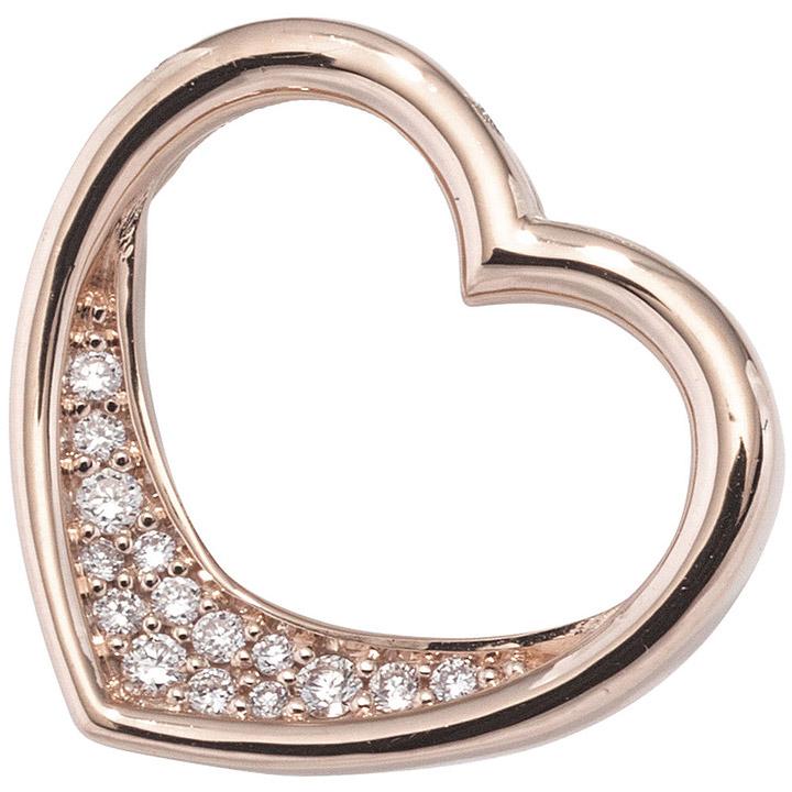 Anhänger Herz 585 Gold Rotgold 15 Diamanten Brillanten 0,08ct. Herzanhänger