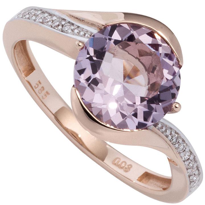Damen Ring 585 Rotgold bicolor 16 Diamanten Brillanten 1 Amethyst lila violett