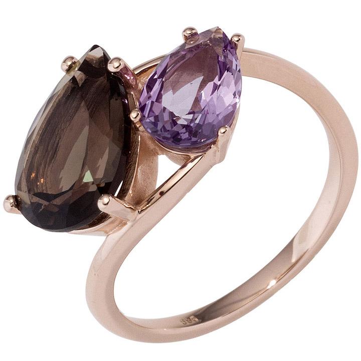 Damen Ring 585 Gold Rotgold 1 Rauchquarz braun 1 Amethyst lila violett Goldring