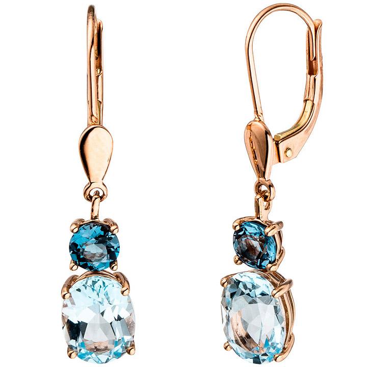 Boutons 585 Gold Rotgold 2 Blautopase hellblau blau Ohrringe Ohrhänger