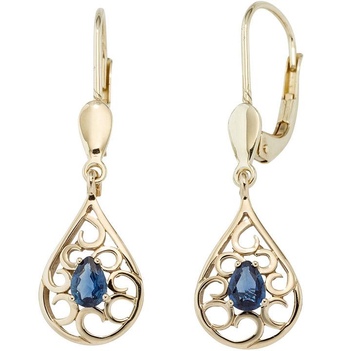 Boutons Tropfen 585 Gold Gelbgold 2 Safire blau Ohrringe Ohrhänger Goldohrringe
