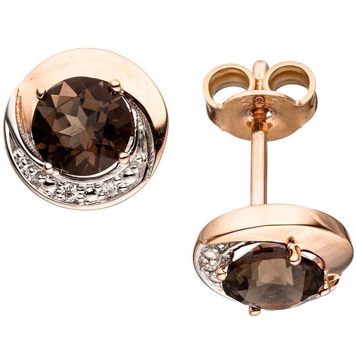 Ohrstecker rund 585 Gold Rotgold 4 Diamanten Brillanten 2 Rauchquarze braun