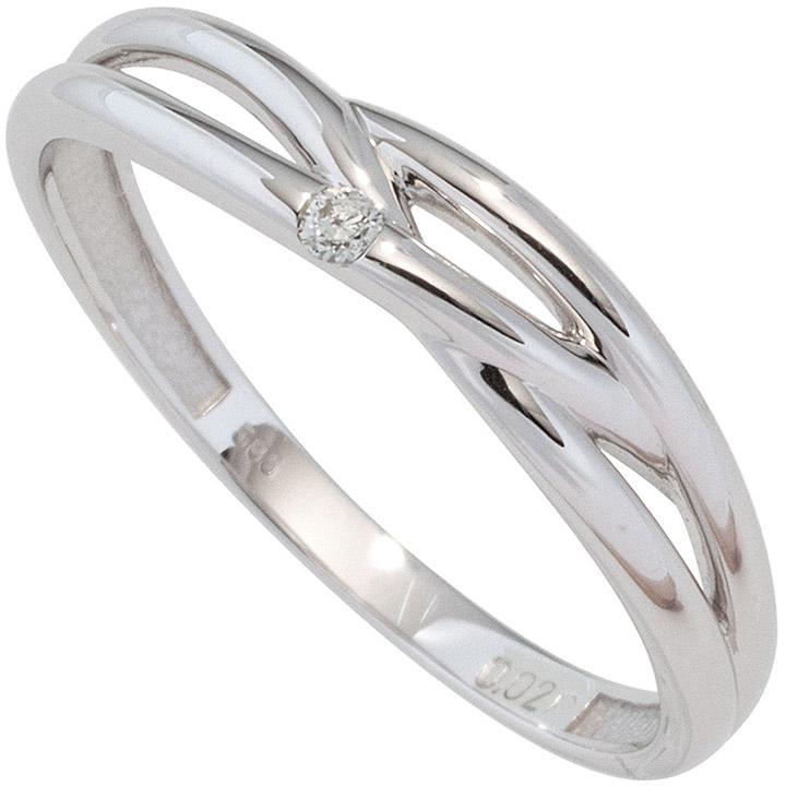 Damen Ring 585 Gold Weißgold 1 Diamant Brillant 0,02ct. Diamantring Weißgoldring