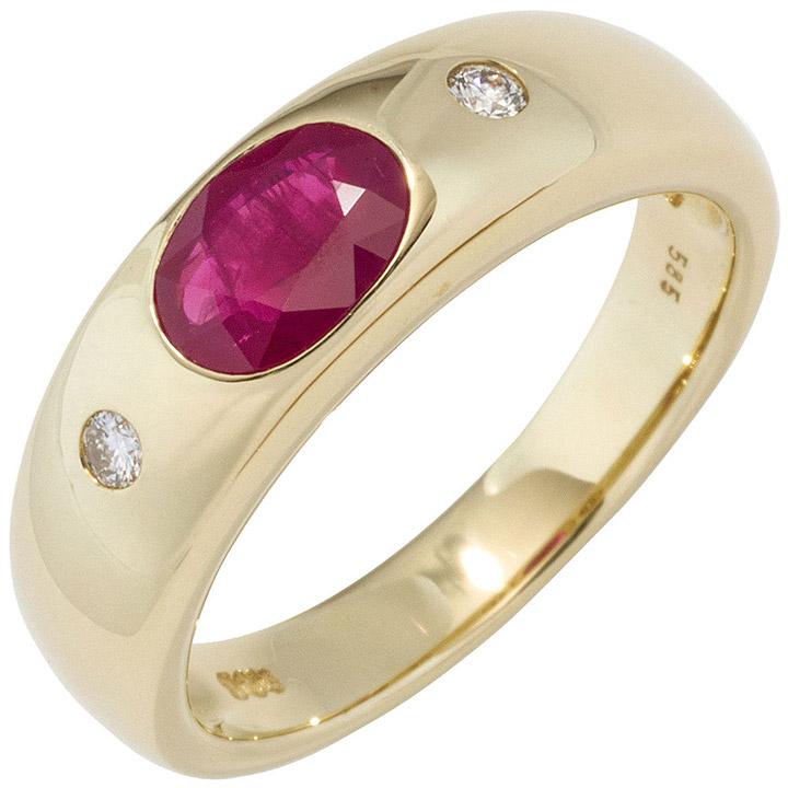 Damen Ring 585 Gold Gelbgold 1 Rubin rot 2 Diamanten Brillanten Goldring