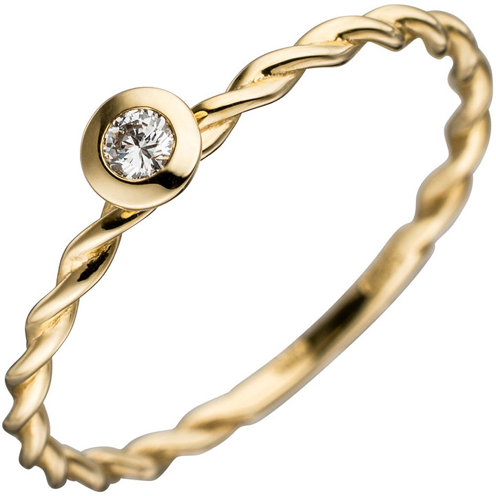Damen Ring gedreht 585 Gold Gelbgold 1 Diamant Brillant 0,05ct. Goldring