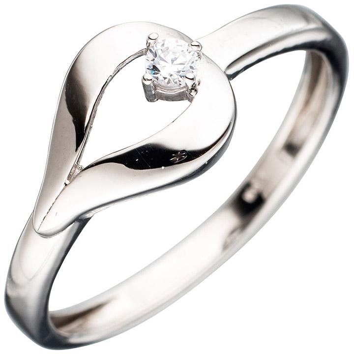 Damen Ring 333 Gold Weißgold 1 Zirkonia Goldring Weißgoldring