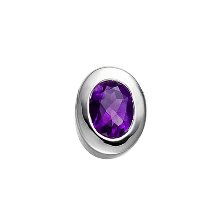 Anhänger oval 925 Sterling Silber rhodiniert 1 Amethyst violett lila