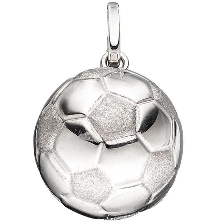 Kinder Anhänger Fußball 925 Sterling Silber rhodiniert mattiert Kinderanhänger