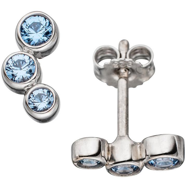 Ohrstecker 925 Sterling Silber rhodiniert 6 Spinelle hellblau blau Ohrringe
