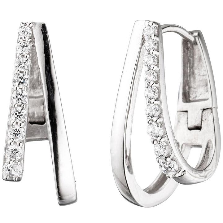 Creolen 925 Sterling Silber mit Zirkonia Ohrringe Silberohrringe Silbercreolen