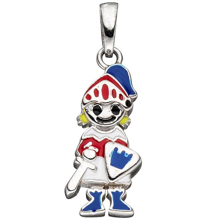 Kinder Anhänger Ritter 925 Silber mit Lackeinlagen rot / blau Kinderanhänger