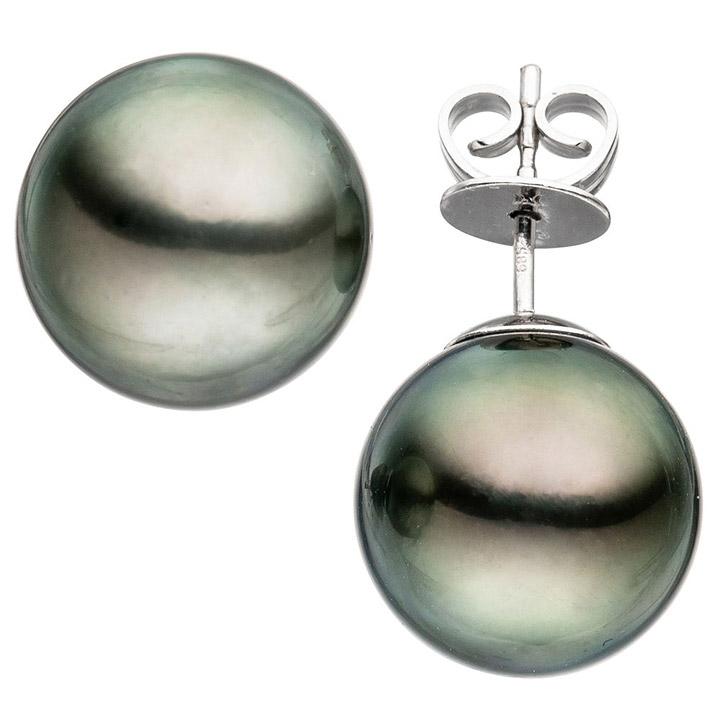 Ohrstecker 585 Gold Weißgold 2 Tahiti Perlen Ohrringe Perlenohrstecker