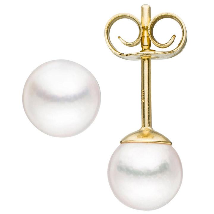 Ohrstecker 333 Gold Gelbgold 2 Akoya Perlen Ohrringe Perlenohrstecker