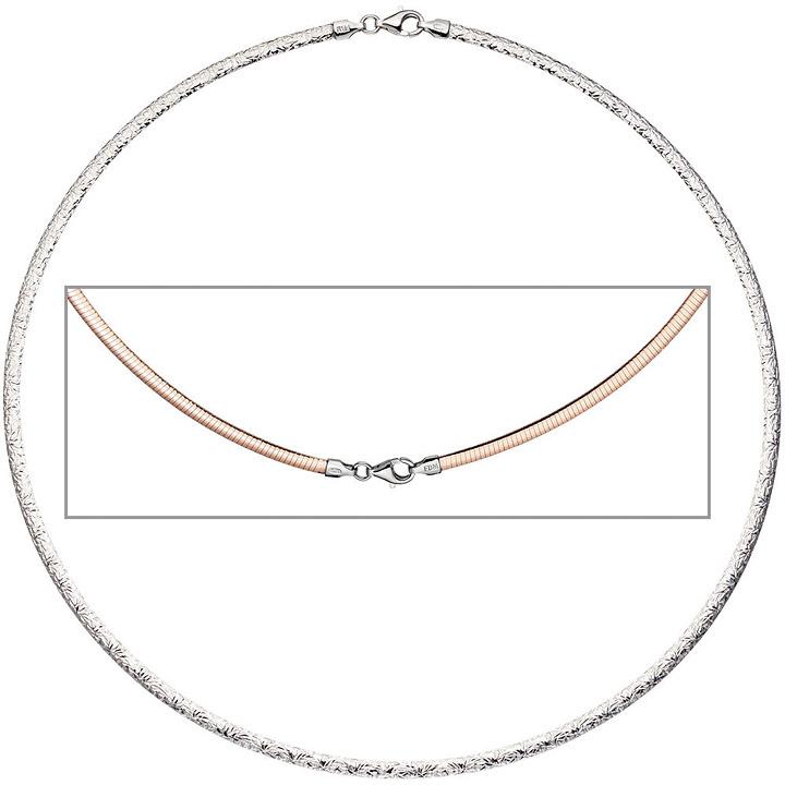 Halsreif Halskette Collier 925 Silber rotgold vergoldet beidseitig tragbar 42 cm